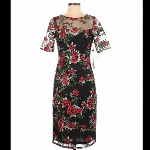 Adrianna Papell Embroidered Falling Roses Dress